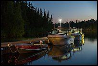 Rock Harbor marina at night. Isle Royale National Park ( color)