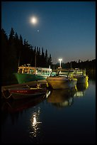 Rock Harbor marina with moon reflected. Isle Royale National Park ( color)
