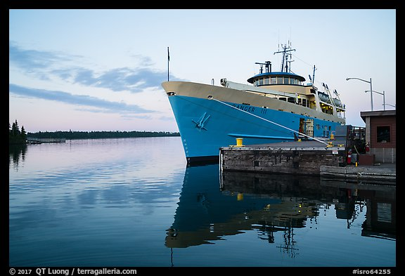 Ranger 3 national park service ferry moored at Rock Harbor. Isle Royale National Park (color)