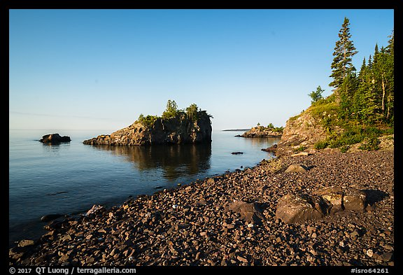 Rocky beach, offshore islet, and Lake Superior, Mott Island. Isle Royale National Park (color)