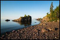 Rocky beach, offshore islet, and Lake Superior, Mott Island. Isle Royale National Park ( color)