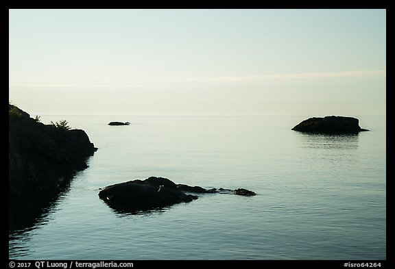 Dark rocks, early morning, Lake Superior. Isle Royale National Park (color)