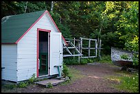 Honeymoon cabin and net reels, Edisen Fishery. Isle Royale National Park ( color)