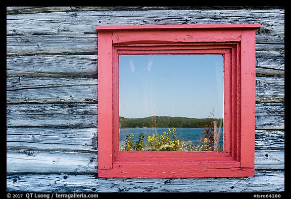 Net house window reflection, Edisen Fishery. Isle Royale National Park (color)