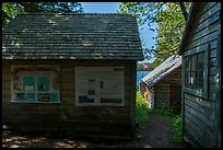 Bangsund Cabin with technical posters and norvegian flag. Isle Royale National Park ( color)