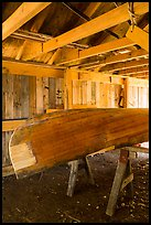 Canoe being built, Bangsund Cabin site. Isle Royale National Park ( color)