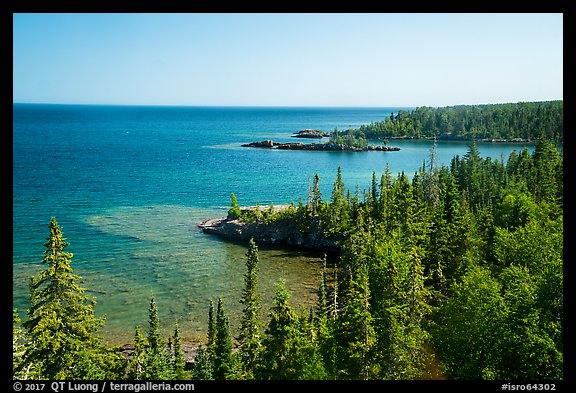 Costline seen from top of Rock Harbor Lighthouse. Isle Royale National Park (color)