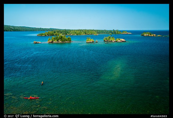 Kayakers and Caribou Island. Isle Royale National Park (color)