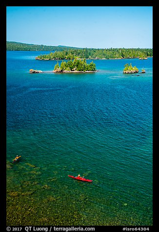 Kayakers, blue waters, and islets from above. Isle Royale National Park (color)