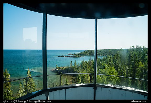 View from inside top of Rock Harbor Lighthouse. Isle Royale National Park (color)