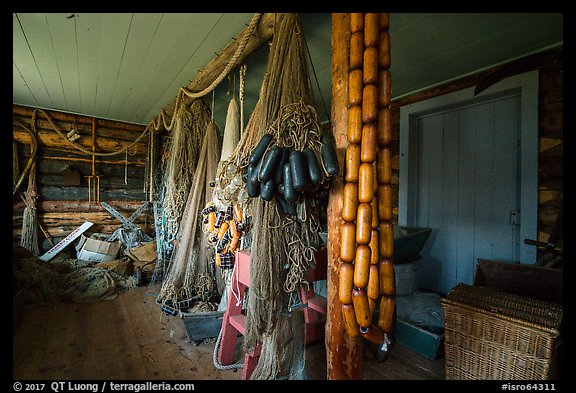 Net House interior, Edisen Fishery. Isle Royale National Park (color)