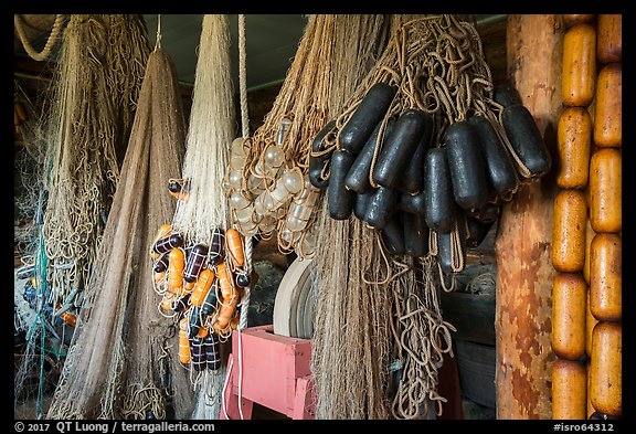 Fishing nets in Net House, Pete Edisen Fishery. Isle Royale National Park (color)