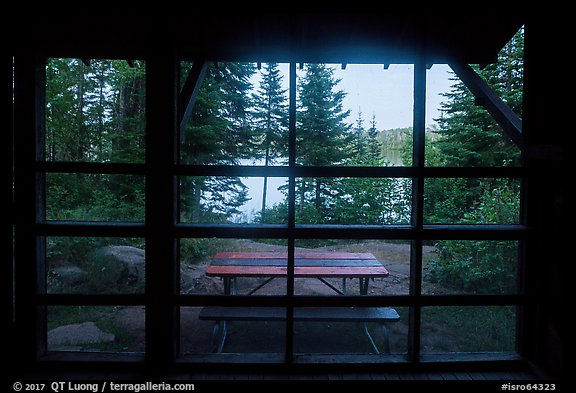 View from inside shelter, Moskey Basin. Isle Royale National Park (color)