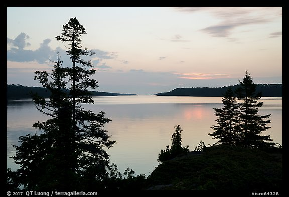 Trees and calm waters, Moskey Basin, dawn. Isle Royale National Park (color)