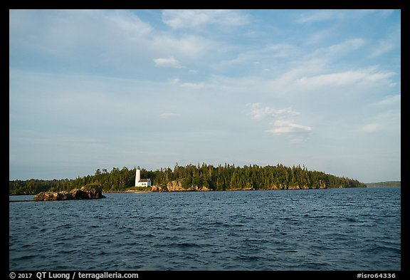 Distant view of Rock Harbor Lighthouse. Isle Royale National Park (color)