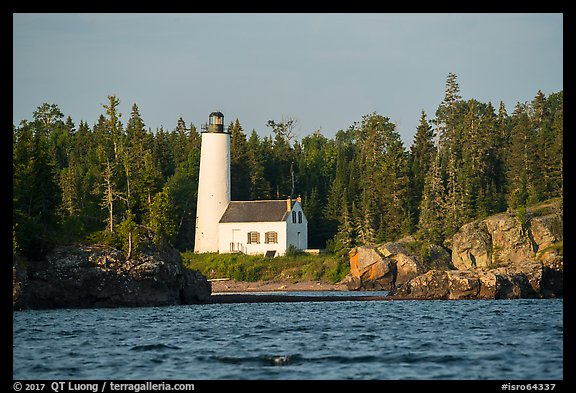 Rocks and Rock Harbor Lighthouse. Isle Royale National Park (color)