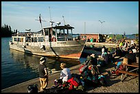 Backpackers wait to board ferry at Rock Harbor. Isle Royale National Park ( color)