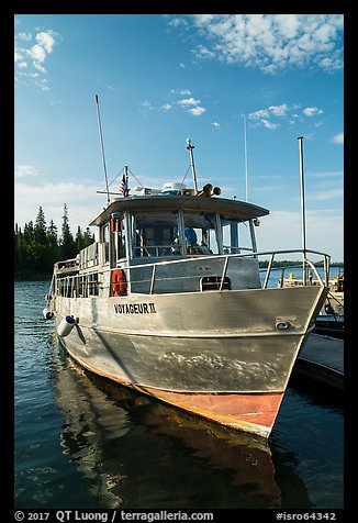 Voyageur II ferry moored at Rock Harbor. Isle Royale National Park (color)