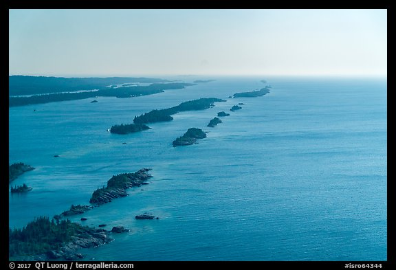 Aerial view of outer island archipelago. Isle Royale National Park (color)