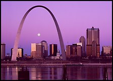 Moon, Arch and downtown skyline at dawn. Gateway Arch National Park ( color)