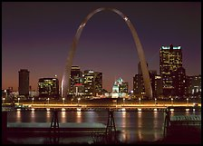 Arch and downtown skyline at night from East St Louis. Gateway Arch National Park ( color)
