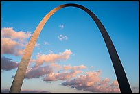 Gateway Arch and clouds at sunset. Gateway Arch National Park ( color)