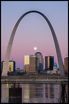 Moonset framed by Arch across Mississippi River. Gateway Arch National Park ( color)