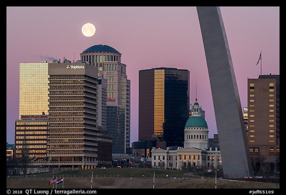Downtown, Old Courthouse, Arch pillar, and moon. Gateway Arch National Park (color)