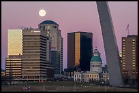 Downtown, Old Courthouse, Arch pillar, and moon. Gateway Arch National Park ( color)