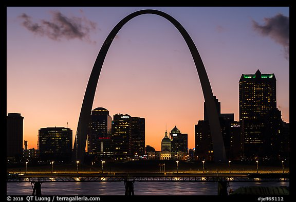 Arch and Old Courthouse across Mississippi River at sunset. Gateway Arch National Park (color)
