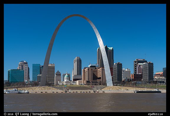 Arch and skyline across Mississippi River. Gateway Arch National Park (color)