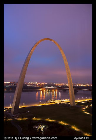 Arch, lighted paths, and Mississippi River from above at dawn. Gateway Arch National Park (color)
