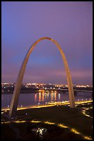 Arch, lighted paths, and Mississippi River from above at dawn. Gateway Arch National Park ( color)