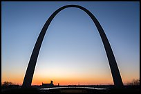 Arch at sunrise with curve of new visitor center roof. Gateway Arch National Park ( color)
