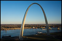 Arch and Mississippi River from above at sunset. Gateway Arch National Park ( color)
