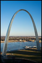 Arch and Mississippi River from above, late afternoon. Gateway Arch National Park ( color)