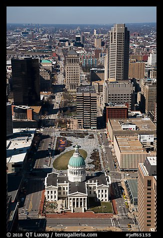 Old Courthouse and downtown St Louis from top of Arch. Gateway Arch National Park (color)