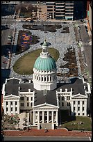 Old Courthouse and Kiener Plaza Park from top of Arch. Gateway Arch National Park ( color)