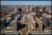 Dowtown St Louis, and Old Courthouse from top of Arch. Gateway Arch National Park ( color)