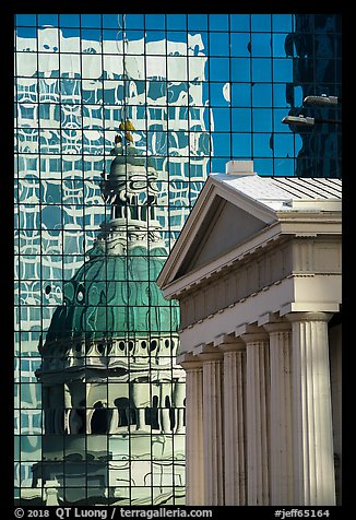 Old Courthouse and its reflection in glass building. Gateway Arch National Park (color)