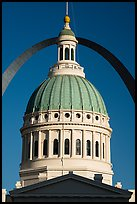 Historic Old Courthouse dome and Arch. Gateway Arch National Park ( color)