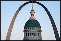 Old Courthouse dome and Arch at sunset. Gateway Arch National Park ( color)