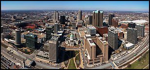 Downtown St Louis from top of Gateway Arch. Gateway Arch National Park (Panoramic color)