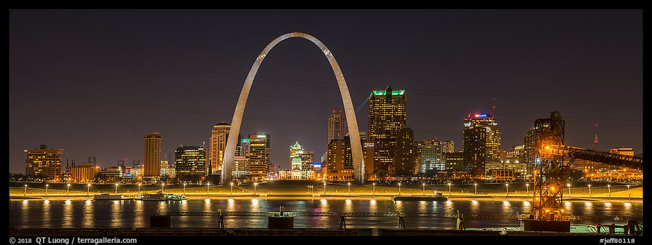 St Louis skyline from Mississippi River Overlook at night. Gateway Arch National Park (color)