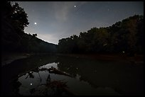 Green River, stars and fireflies at night, Houchin Ferry. Mammoth Cave National Park ( color)