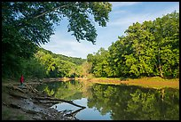 Visitor looking, Green River. Mammoth Cave National Park ( color)