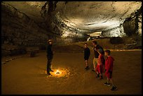 Ranger talks to family in cave. Mammoth Cave National Park ( color)