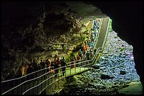 Many visitors waking into cave through historic entrance. Mammoth Cave National Park ( color)