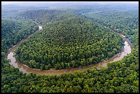 Aerial view of Green River bend. Mammoth Cave National Park ( color)