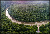Aerial view of Green River and Houchin Ferry. Mammoth Cave National Park ( color)